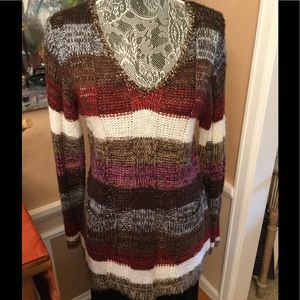NWOT BROWN/PINK STRIPED TUNIC V NECK SWEATER