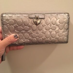 Coach silver leather wallet