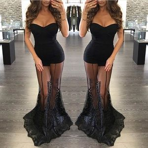 Black Sheer Bottom Maxi Dress