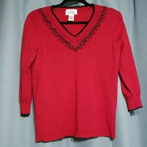 Bethany sweater red with black beads