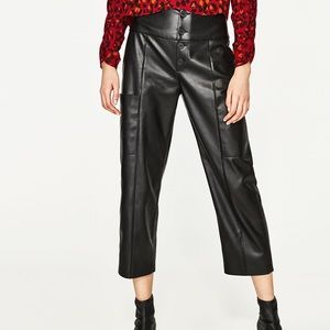 Zara Faux Leather Palazzo Trousers