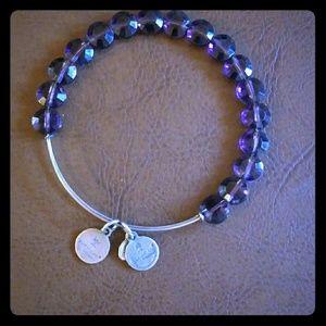 Alex & Ani Purple Stone Silver Tone Bracelet