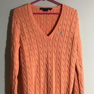 Ralph Lauren Sport orange cable knit sweater