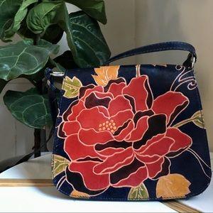 Floral leather navy handbag