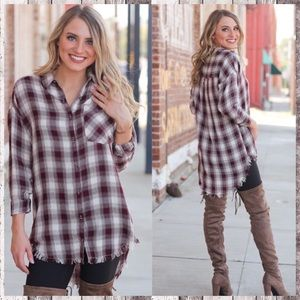 ‼️COMING‼️PLAID BUTTON UP TUNIC‼️