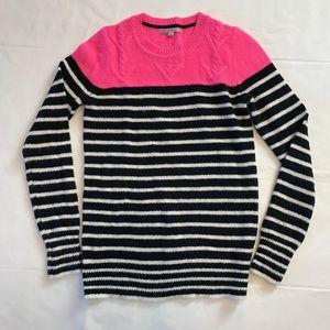 Gap Pink Blue & White Striped Crew Neck Sweater XS