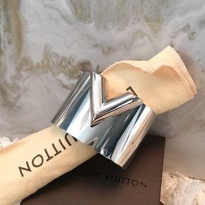Louis Vuitton Silver Essential V Cuff Bracelet