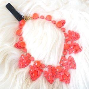 J.Crew Neon Pink Crystal Fan Necklace