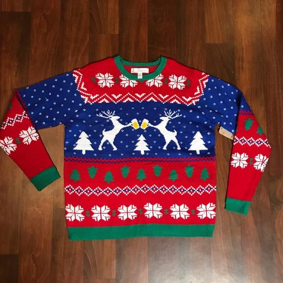 Beer Christmas Sweater.Deer Drinking Beer Christmas Sweater Nwt