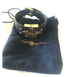 Tory Burch Black Leather & Gold cuff bracelet!