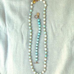 Handmade blue and gold necklace and bracelet set