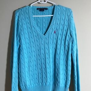Ralph Lauren Sport light blue cable knit sweater