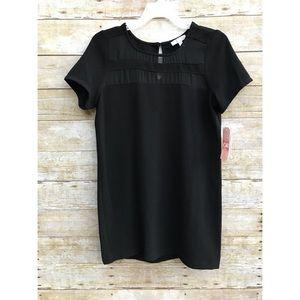 Gianni Bini Black Sheer Detailing Shift Dress Sz S