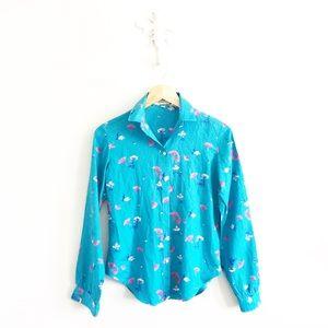 Vintage Stuart Lang Button Down Blue Floral Shirt