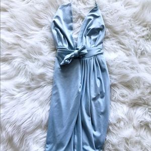 Ice Blue Asymmetric Mini Wrap Dress