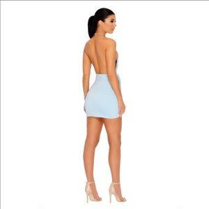 OhPolly.com Dresses - Ice Blue Asymmetric Mini Wrap Dress