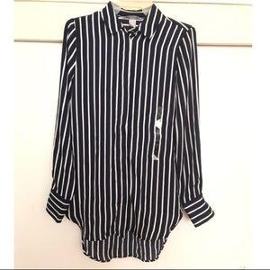 Silk blue and white stripped shirt.