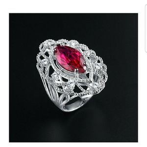 Caperci Vintage SS Ruby Red Marquise Cut Ring