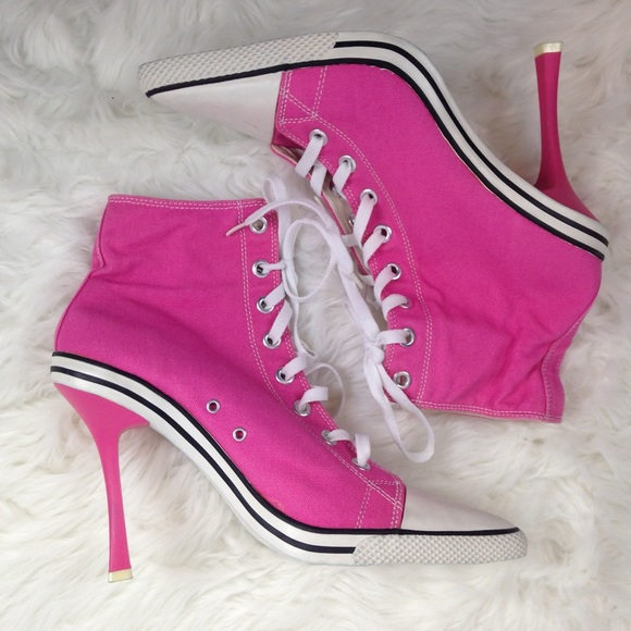 1357fc45f2df Anne Michelle Shoes - Pink Converse Stiletto Sneaker Heels w Pointed Toe