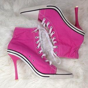 Pink Converse Stiletto Sneaker Heels w Pointed Toe