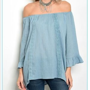 Dusty Blue Off the Shoulder Top