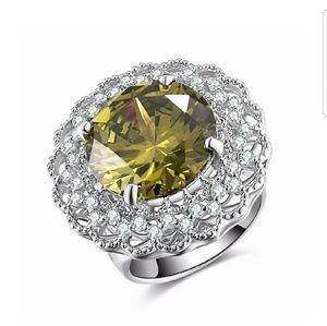 Caperci Sterling Silver Peridot Statement Ring