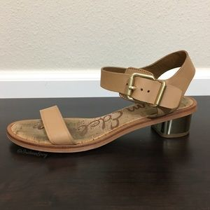 Sam Edelman- Trina Lt. Brown Leather Heeled Sandal
