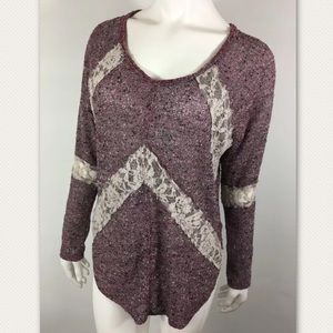 We the Free Lace Burgundy long sleeve knot top