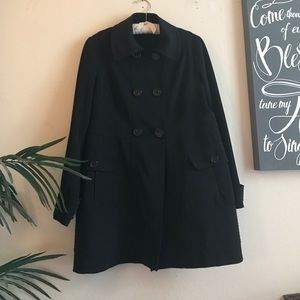 Black trench rain coat.
