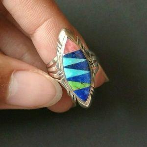 Sterling silver ring turquoise lapis lazuli Zuni?