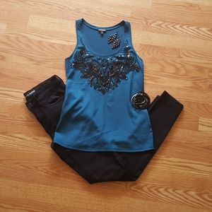 Gorgeous dark teal sequined Express tank