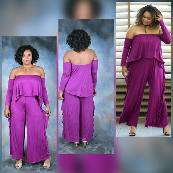 824649cfcb0 Plus Size Side Ruffle Tube Top Jumpsuit 🌟