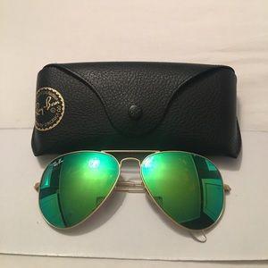 Green lens aviator ray bans