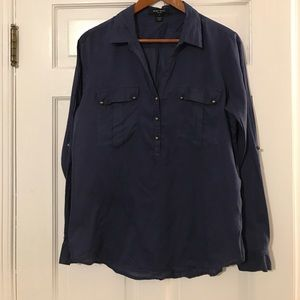 Perfect for fall! Navy blue popover blouse