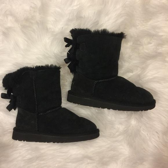 Girls black bow uggs size 1