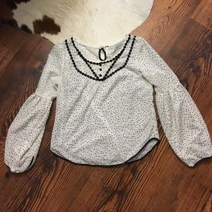 Free People Polka Dot Top with Bell Sleeves