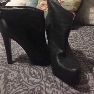 Fur lined BCBG booties 4 1/2 inch heel