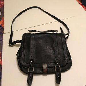 Black Saddle-Style Shoulder Bag