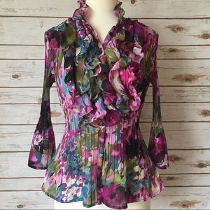 Petite Sophisticate Floral Ruffle Blouse