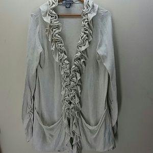 Gorgeous cream color ruffled fall cardigan