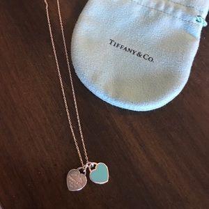 "⚡️ Tiffany. Co return double heart 18"" Necklace"