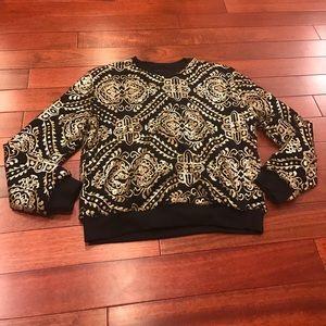 👗sequin and rolling sleeve sweatshirt