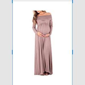 Off the shoulder cowl neck maternity dress