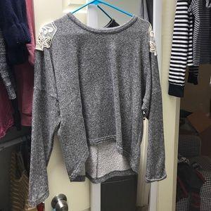Grey and cream lace comfy sweatshirt