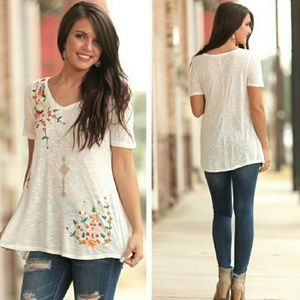 COMING SOON..FLORAL EMBROIDERED V-NECK TUNIC