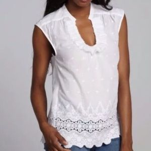 Rebecca Taylor White Embroidered Eyelet Top Sz 10