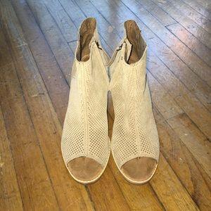TOMS Majorca Perforated Suede Peep-Toe Booties