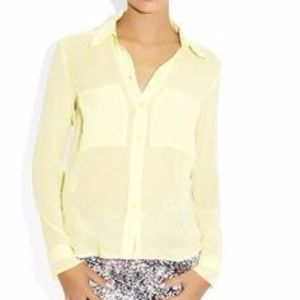 NWT BCBGeneration Lime Chiffon Button Up Blouse