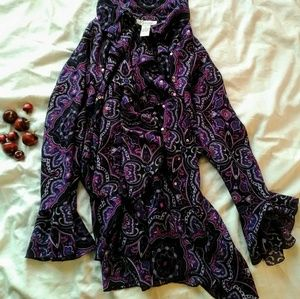 Dress Barn Purple Paisley Tunic Blouse Flowy 3X