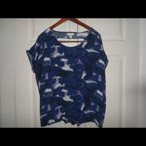 Silence + Noise Absract Print Blue Top